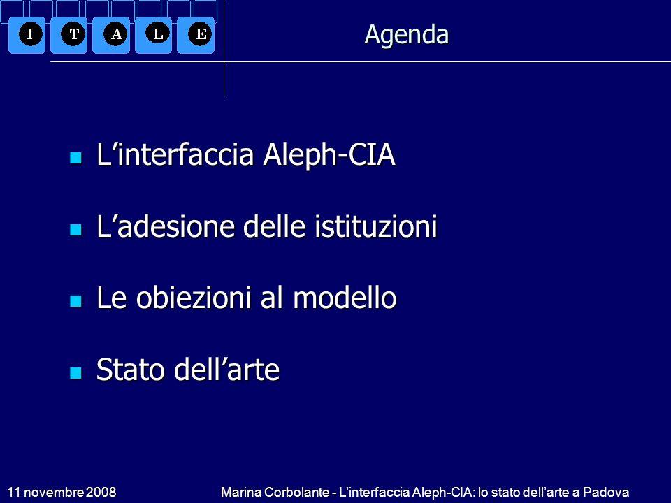 L'interfaccia Aleph-CIA L'adesione delle istituzioni