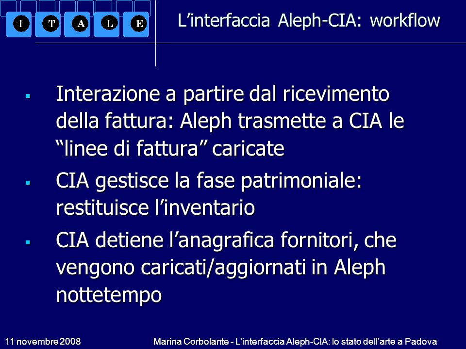 L'interfaccia Aleph-CIA: workflow