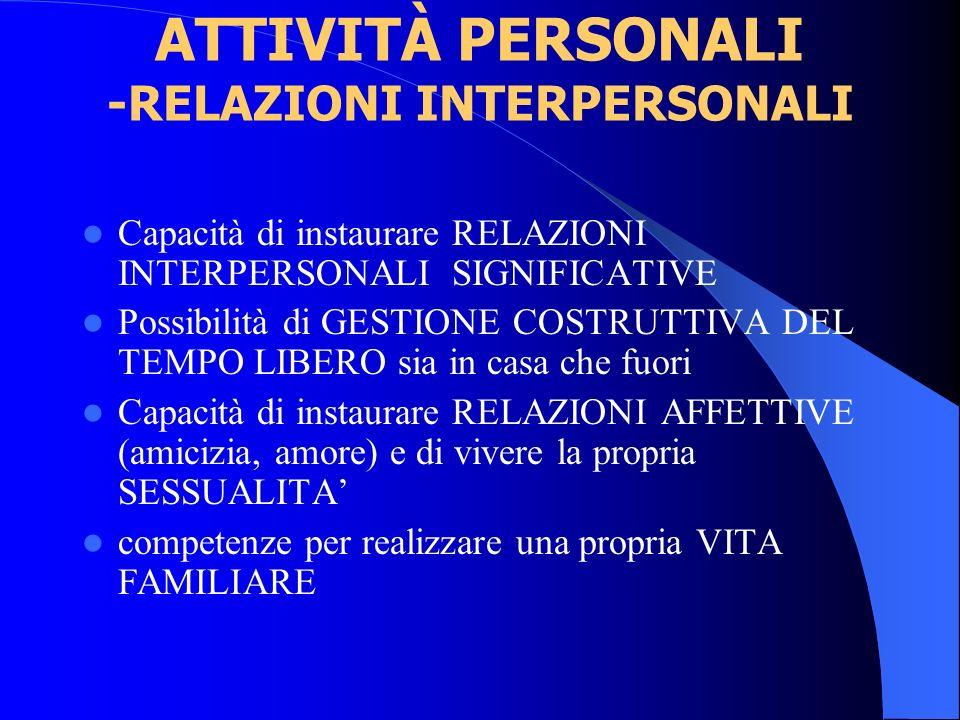 ATTIVITÀ PERSONALI -RELAZIONI INTERPERSONALI