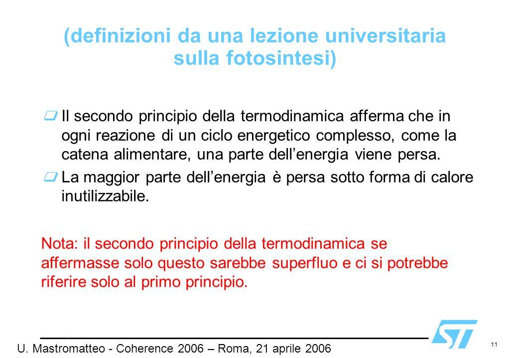 (definizioni da una lezione universitaria sulla fotosintesi)