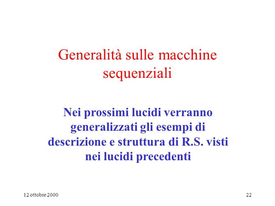 Generalità sulle macchine sequenziali