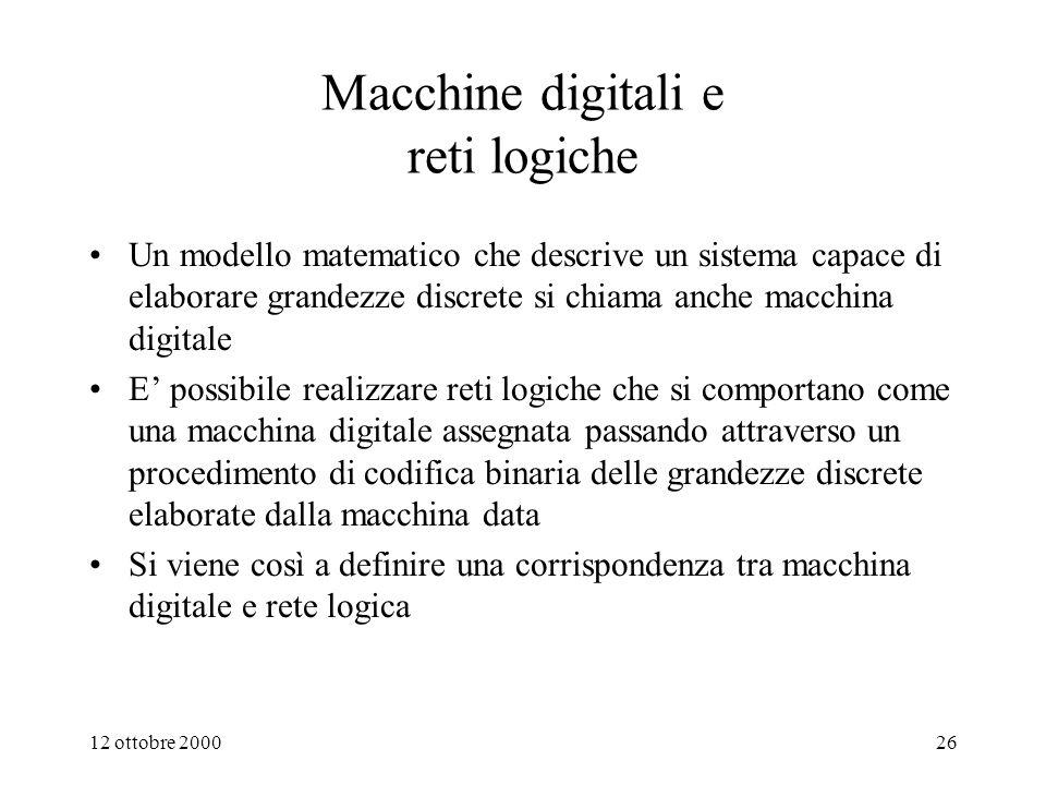 Macchine digitali e reti logiche