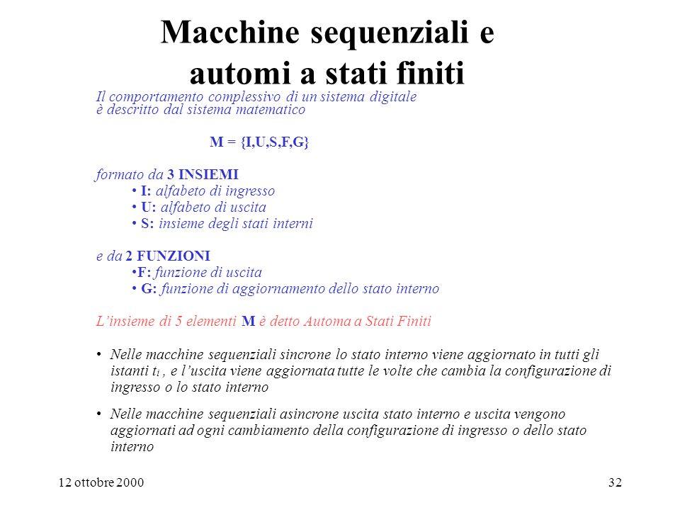 Macchine sequenziali e automi a stati finiti
