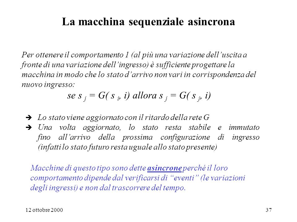 La macchina sequenziale asincrona