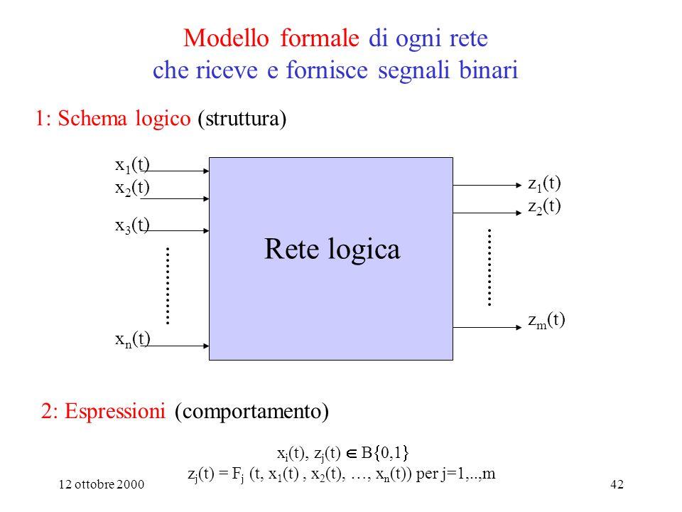 Modello formale di ogni rete che riceve e fornisce segnali binari