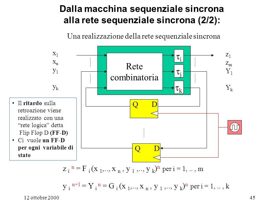 Dalla macchina sequenziale sincrona alla rete sequenziale sincrona (2/2): Una realizzazione della rete sequenziale sincrona