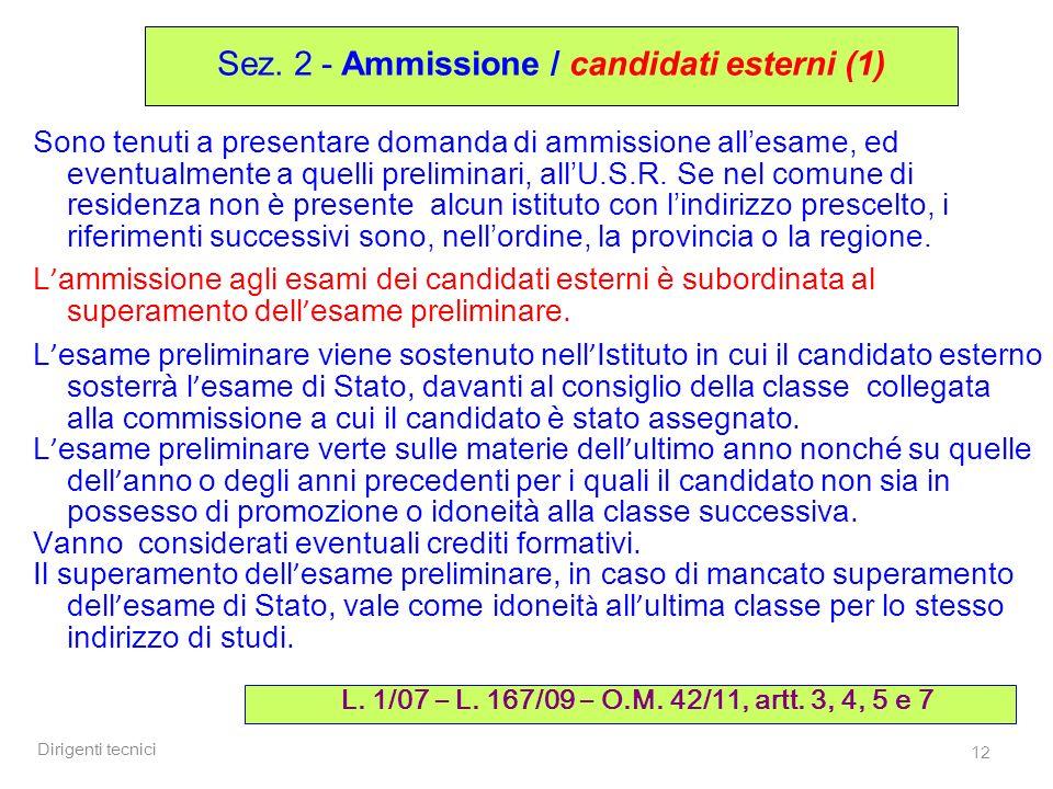 Sez. 2 - Ammissione / candidati esterni (1)