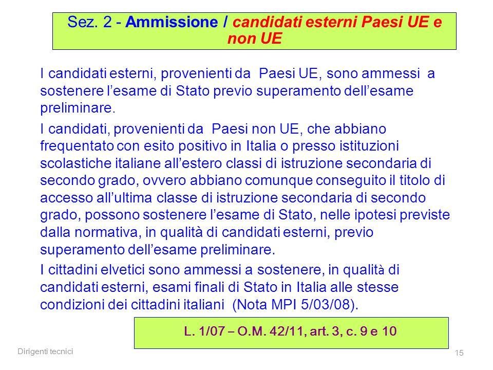 Sez. 2 - Ammissione / candidati esterni Paesi UE e non UE