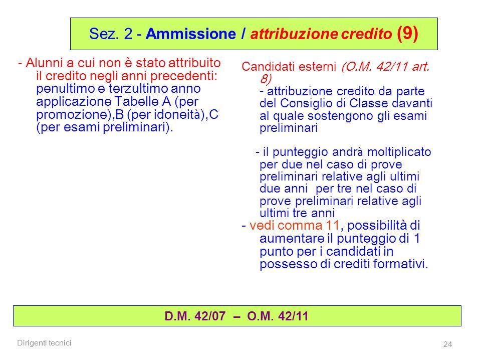Sez. 2 - Ammissione / attribuzione credito (9)