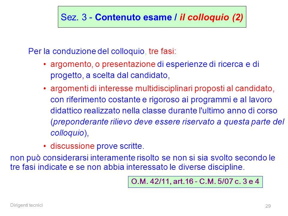Sez. 3 - Contenuto esame / il colloquio (2)