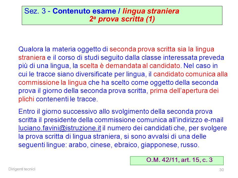 Sez. 3 - Contenuto esame / lingua straniera 2a prova scritta (1)