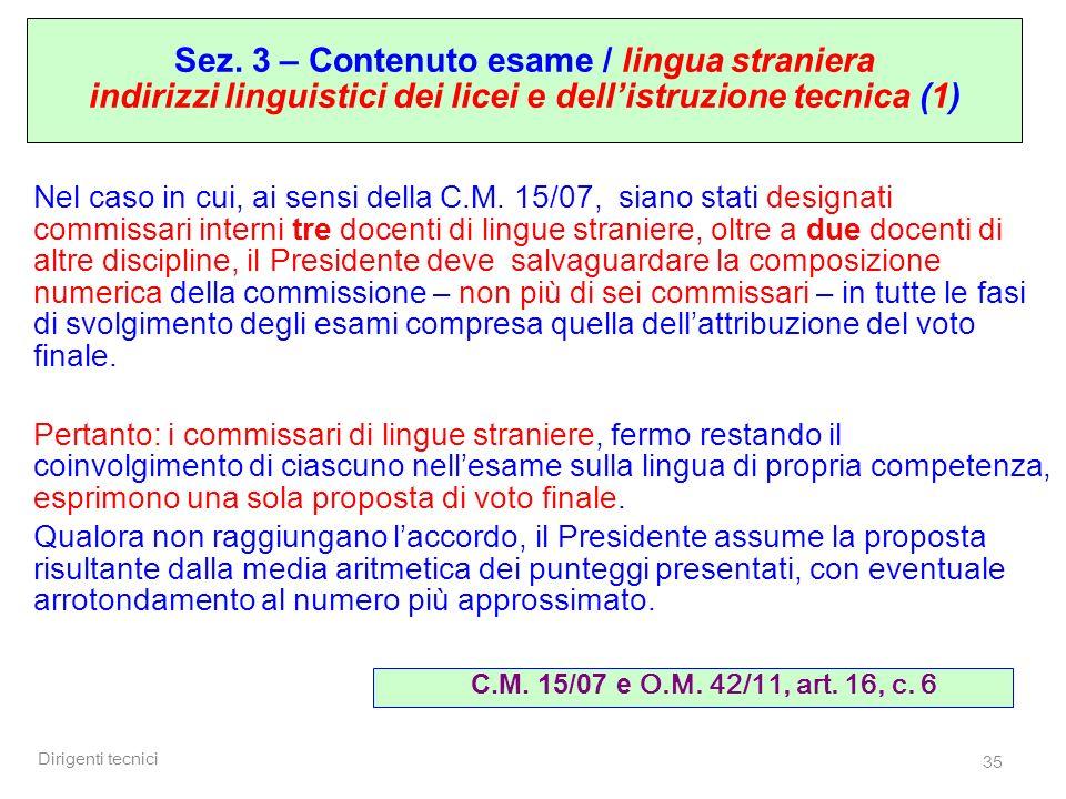 Sez. 3 – Contenuto esame / lingua straniera