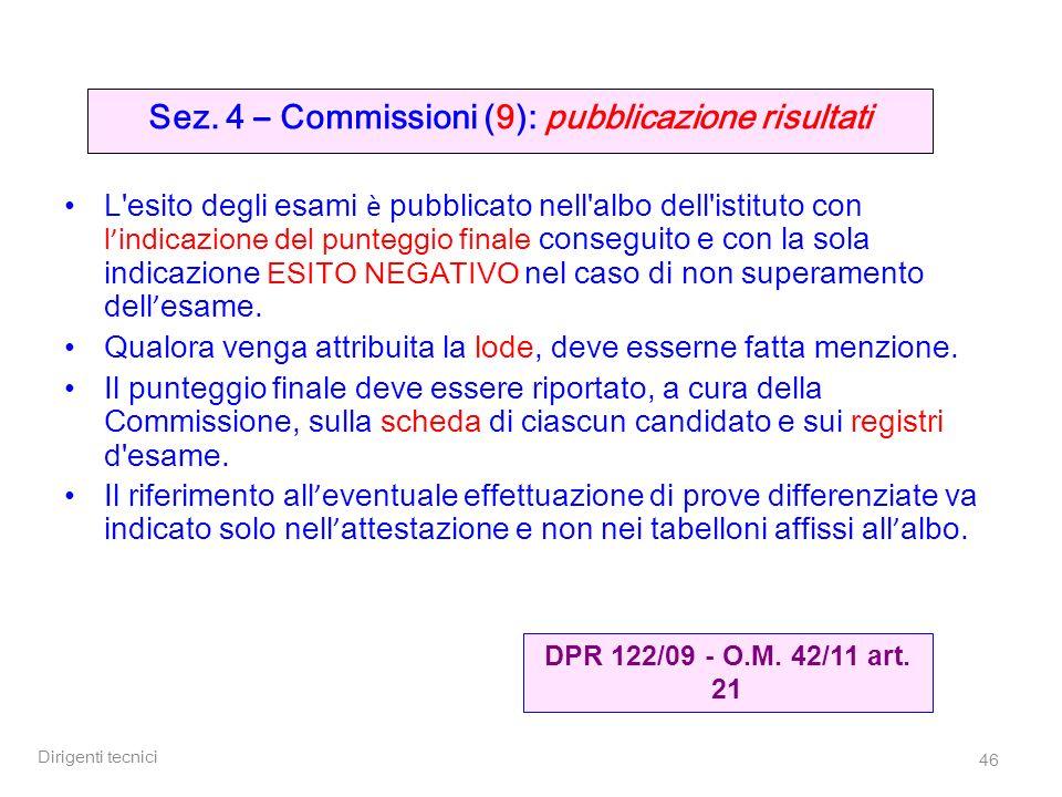 Sez. 4 – Commissioni (9): pubblicazione risultati