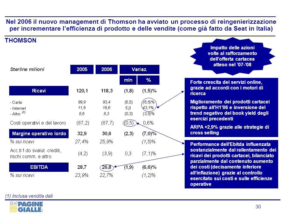 Nel 2006 il nuovo management di Thomson ha avviato un processo di reingenierizzazione per incrementare l'efficienza di prodotto e delle vendite (come già fatto da Seat in Italia)