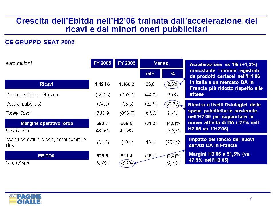 Crescita dell'Ebitda nell'H2'06 trainata dall'accelerazione dei ricavi e dai minori oneri pubblicitari