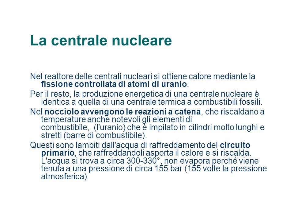La centrale nucleare Nel reattore delle centrali nucleari si ottiene calore mediante la fissione controllata di atomi di uranio.