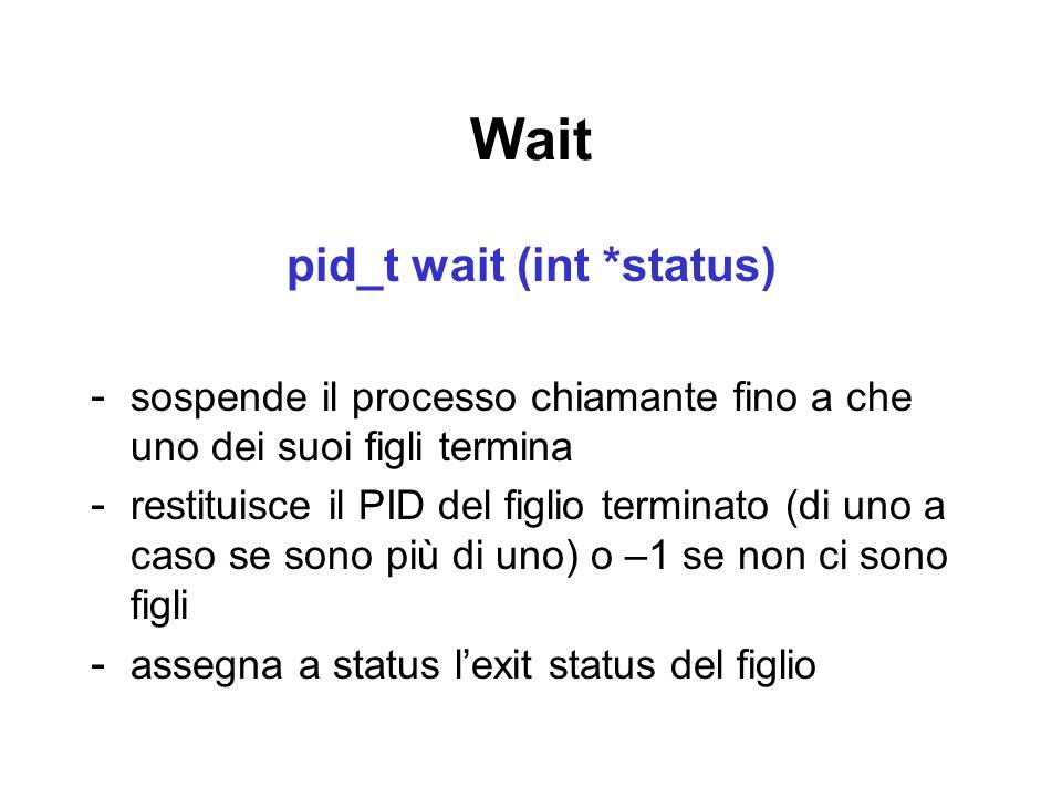 pid_t wait (int *status)