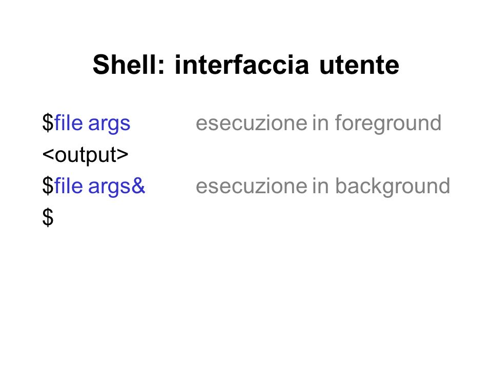 Shell: interfaccia utente