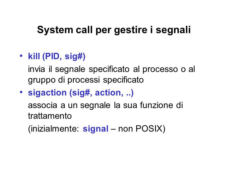 System call per gestire i segnali