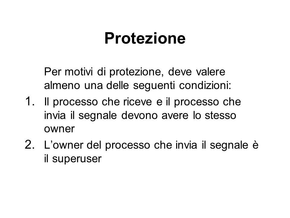 Protezione Per motivi di protezione, deve valere almeno una delle seguenti condizioni:
