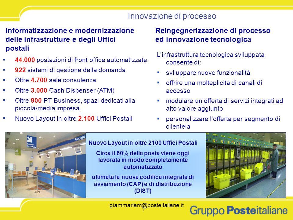Nuovo Layout in oltre 2100 Uffici Postali