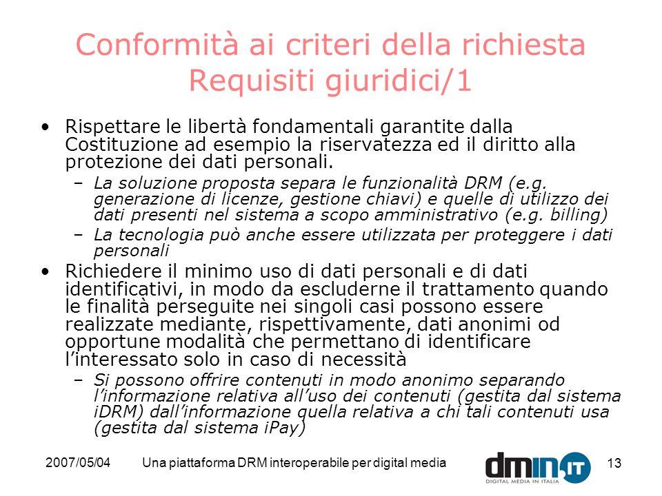 Conformità ai criteri della richiesta Requisiti giuridici/1