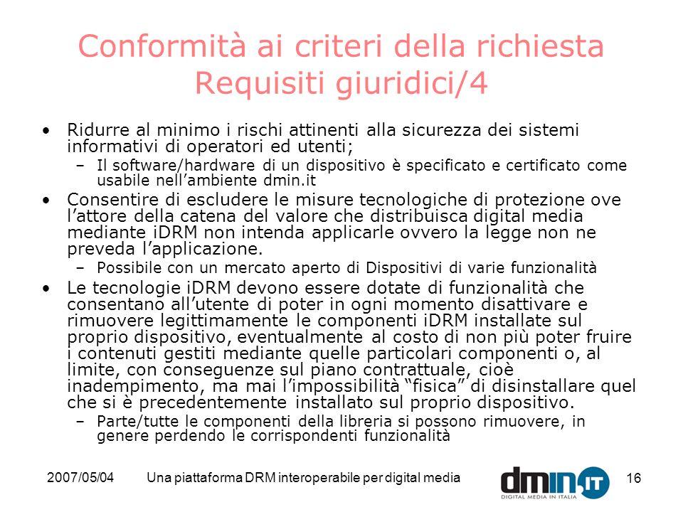Conformità ai criteri della richiesta Requisiti giuridici/4