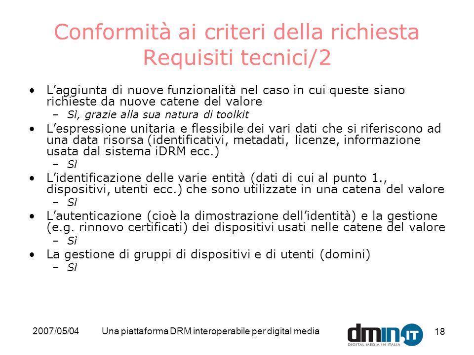 Conformità ai criteri della richiesta Requisiti tecnici/2