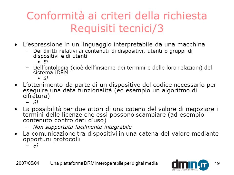 Conformità ai criteri della richiesta Requisiti tecnici/3