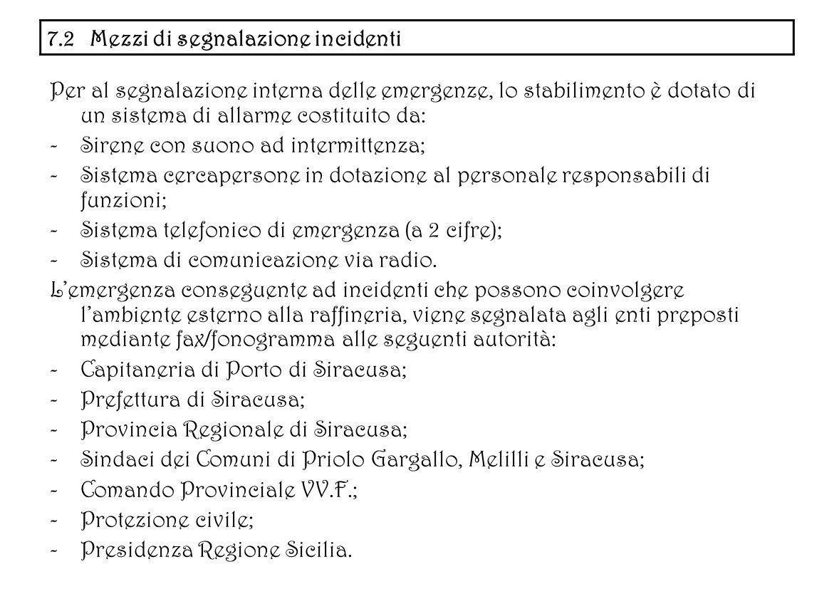 7.2 Mezzi di segnalazione incidenti