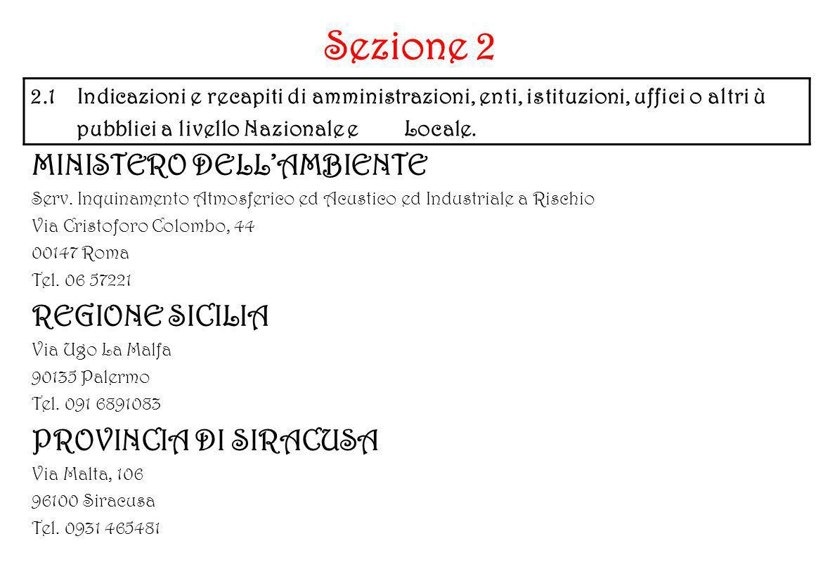 Sezione 2 MINISTERO DELL'AMBIENTE REGIONE SICILIA