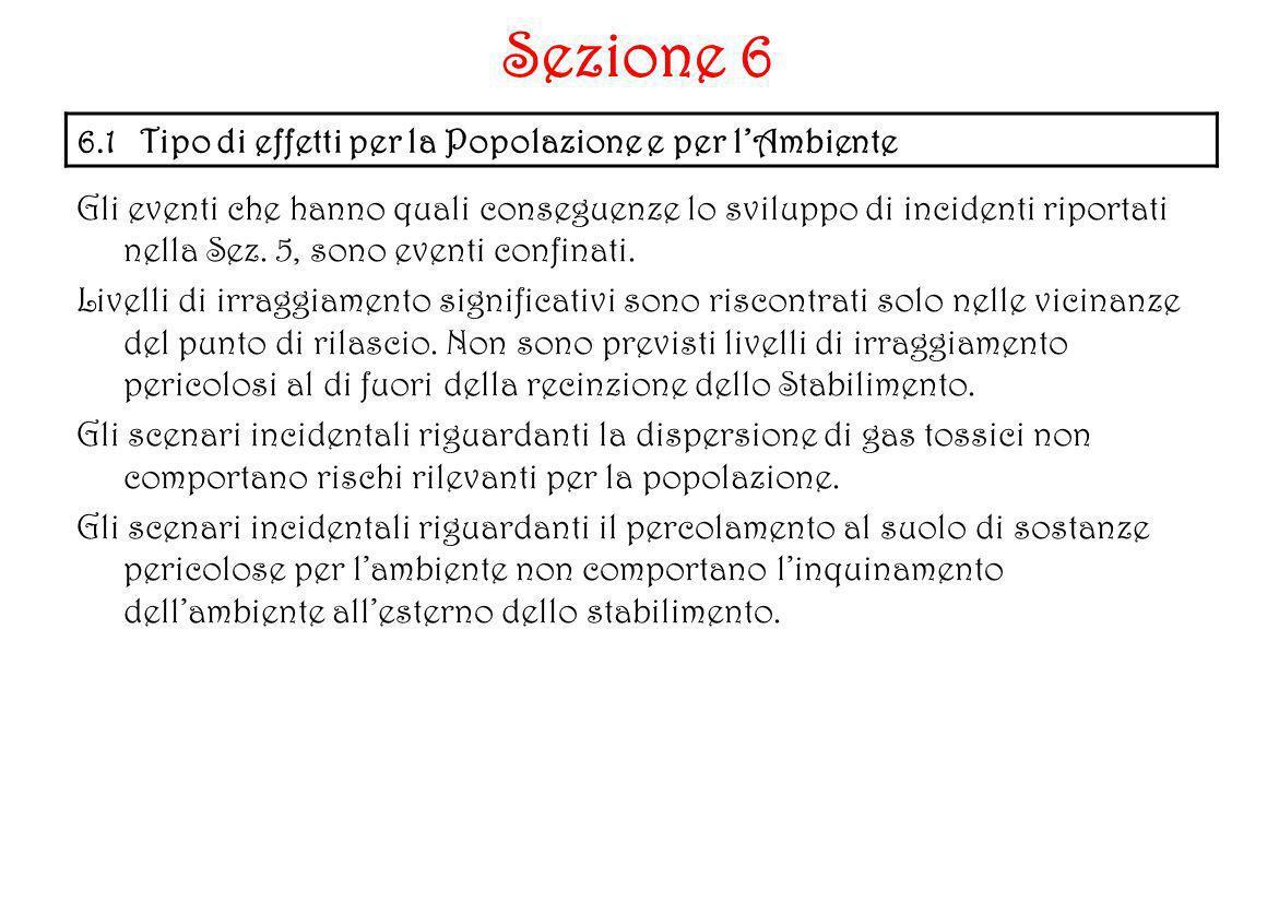 Sezione 6 6.1 Tipo di effetti per la Popolazione e per l'Ambiente