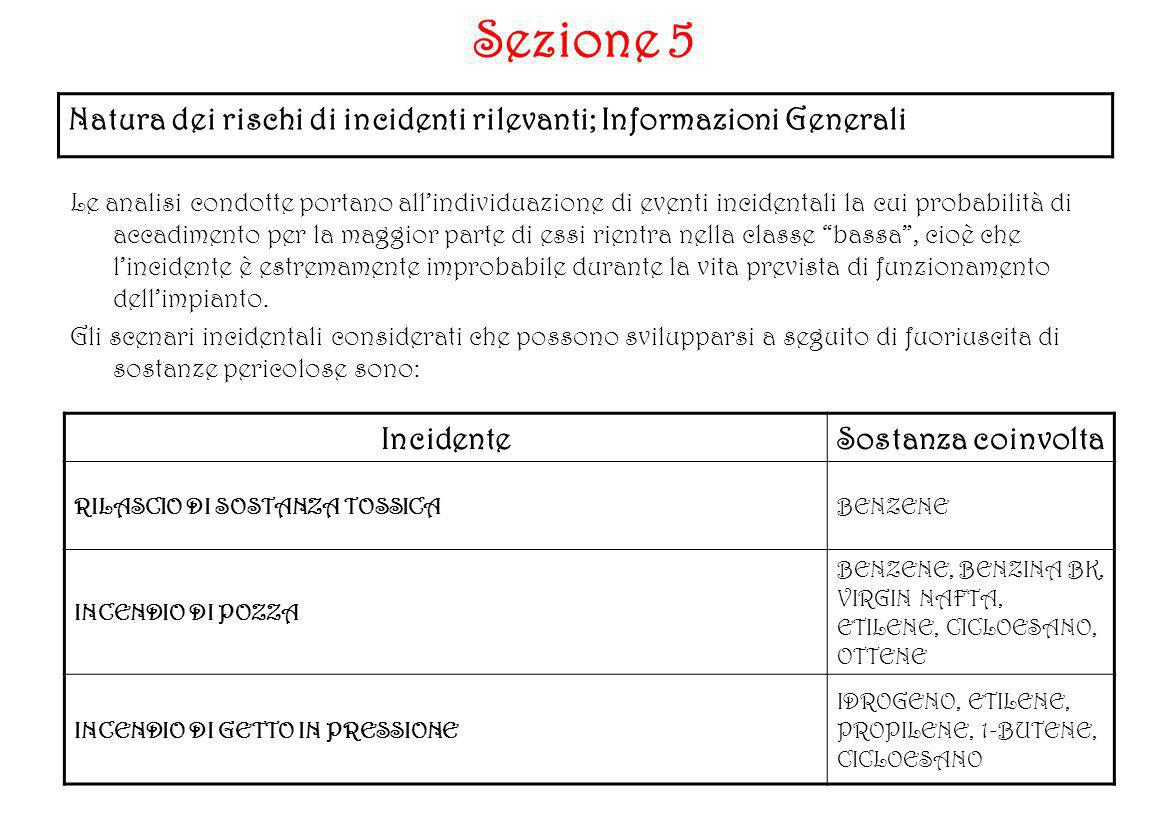 Sezione 5Natura dei rischi di incidenti rilevanti; Informazioni Generali.