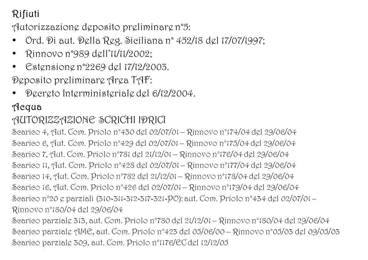 Autorizzazione deposito preliminare n°5: