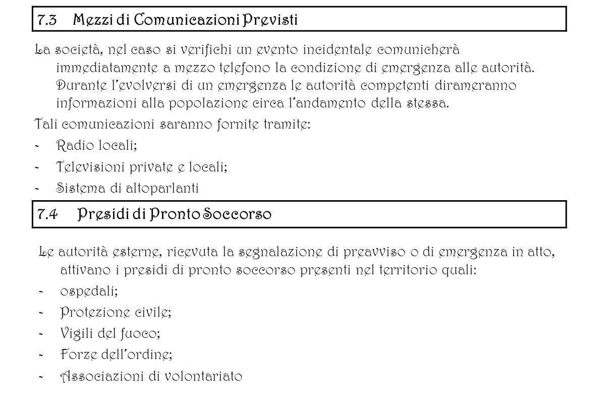 7.3 Mezzi di Comunicazioni Previsti