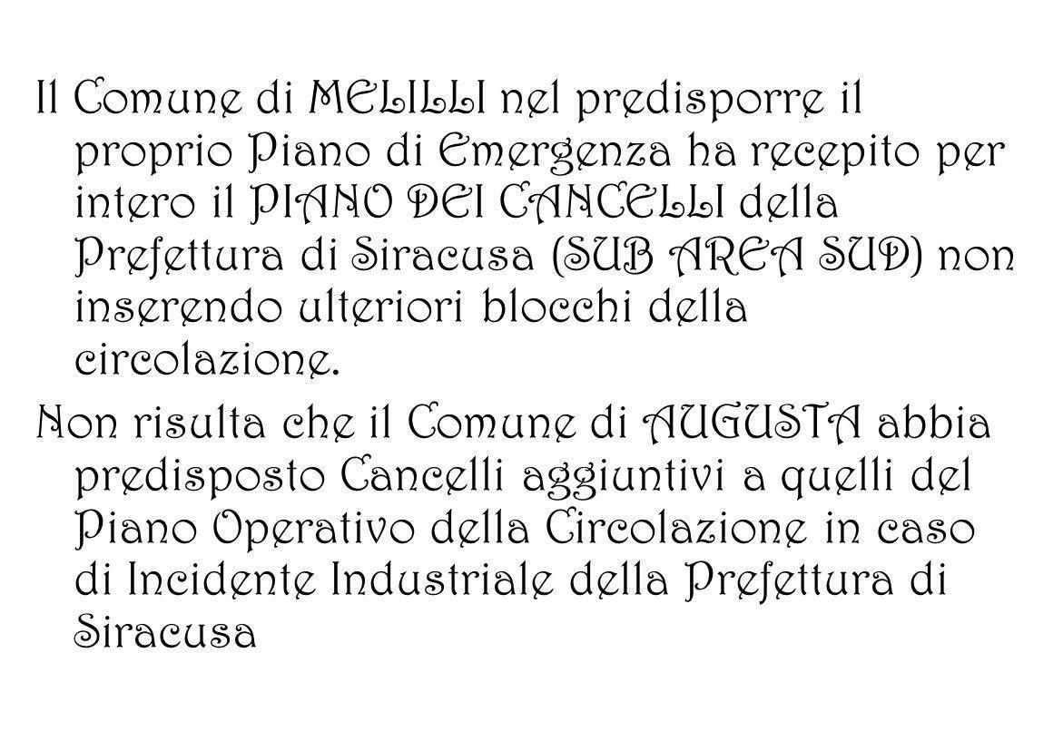Il Comune di MELILLI nel predisporre il proprio Piano di Emergenza ha recepito per intero il PIANO DEI CANCELLI della Prefettura di Siracusa (SUB AREA SUD) non inserendo ulteriori blocchi della circolazione.