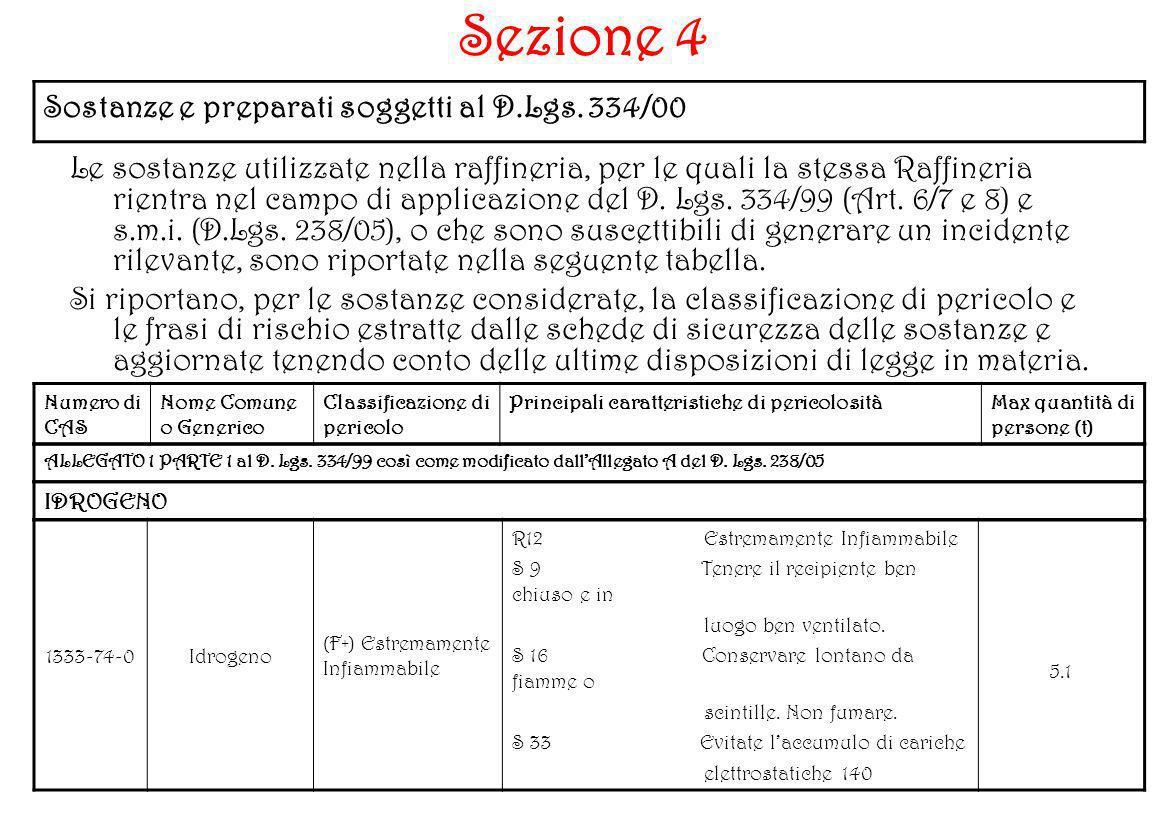 Sezione 4 Sostanze e preparati soggetti al D.Lgs. 334/00