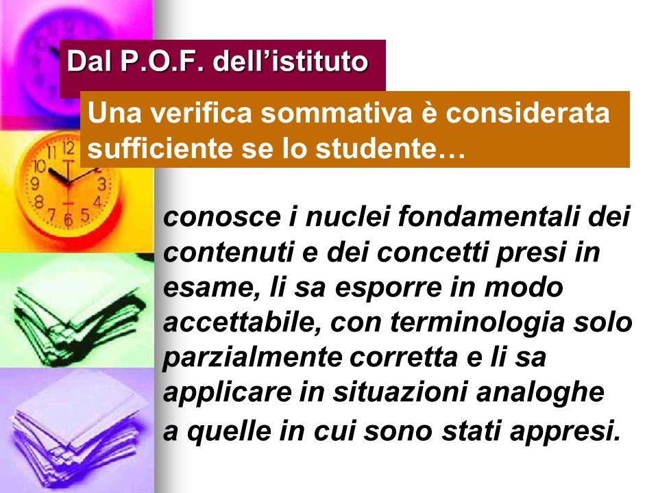 Dal P.O.F. dell'istituto Una verifica sommativa è considerata sufficiente se lo studente…