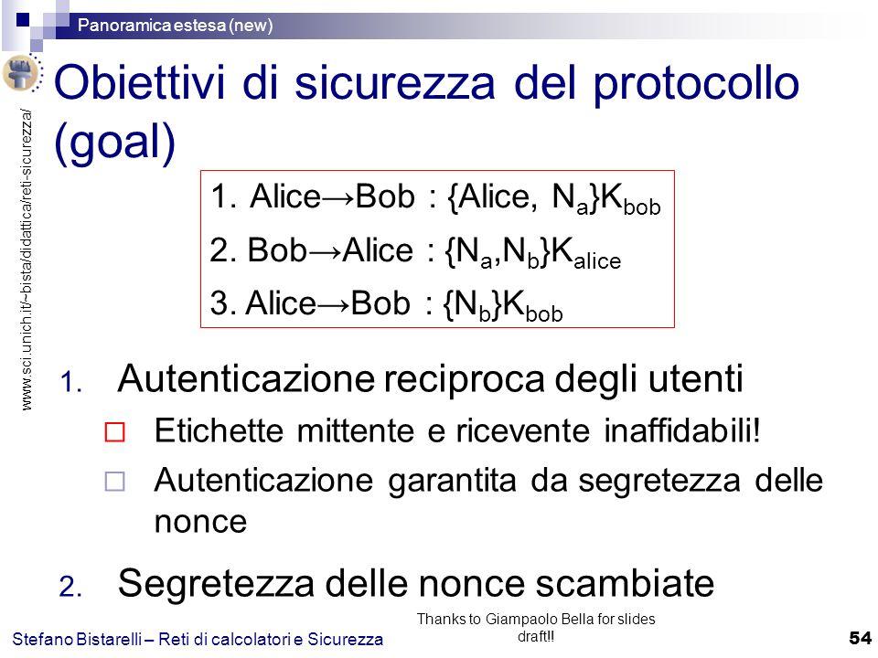 Obiettivi di sicurezza del protocollo (goal)
