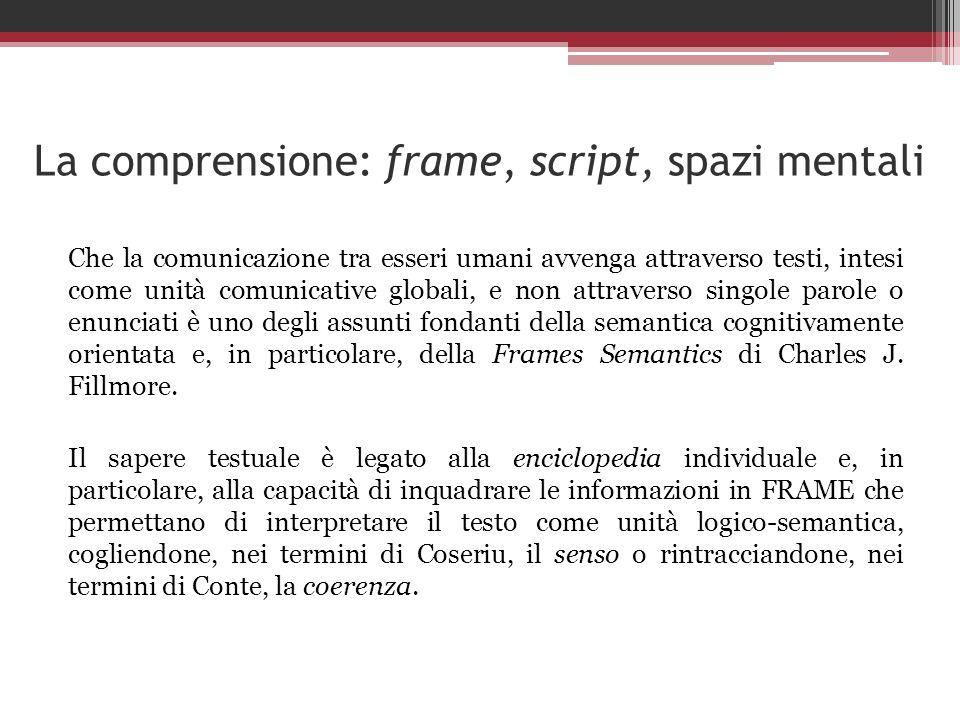 La comprensione: frame, script, spazi mentali