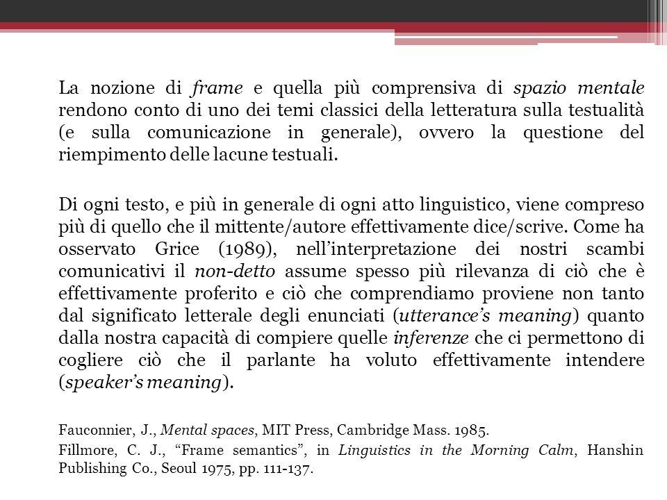 La nozione di frame e quella più comprensiva di spazio mentale rendono conto di uno dei temi classici della letteratura sulla testualità (e sulla comunicazione in generale), ovvero la questione del riempimento delle lacune testuali.