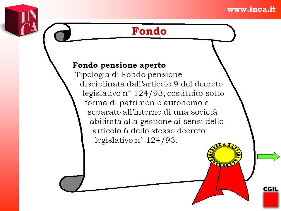 Fondo www.inca.it Fondo pensione aperto Tipologia di Fondo pensione