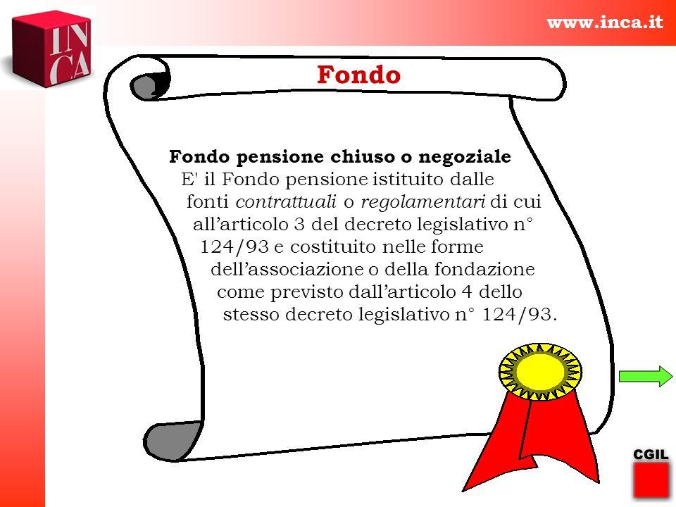 Fondo www.inca.it Fondo pensione chiuso o negoziale
