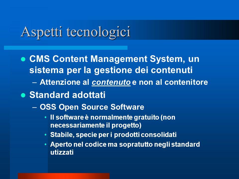 Aspetti tecnologici CMS Content Management System, un sistema per la gestione dei contenuti. Attenzione al contenuto e non al contenitore.