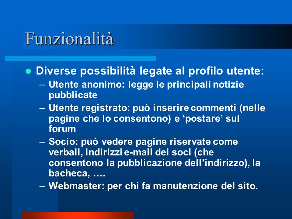 Funzionalità Diverse possibilità legate al profilo utente:
