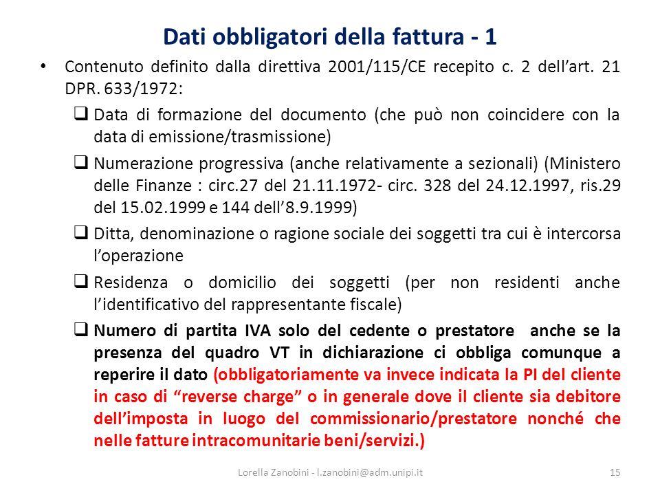 Dati obbligatori della fattura - 1
