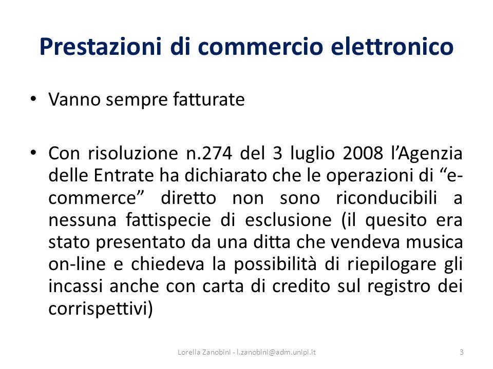 Prestazioni di commercio elettronico