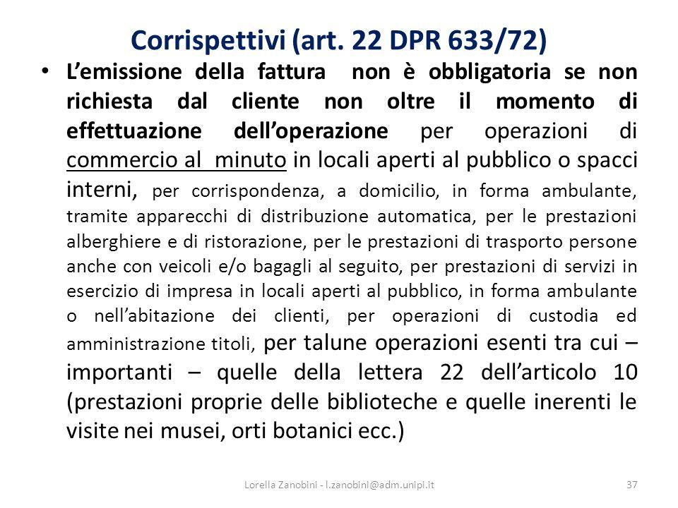 Corrispettivi (art. 22 DPR 633/72)