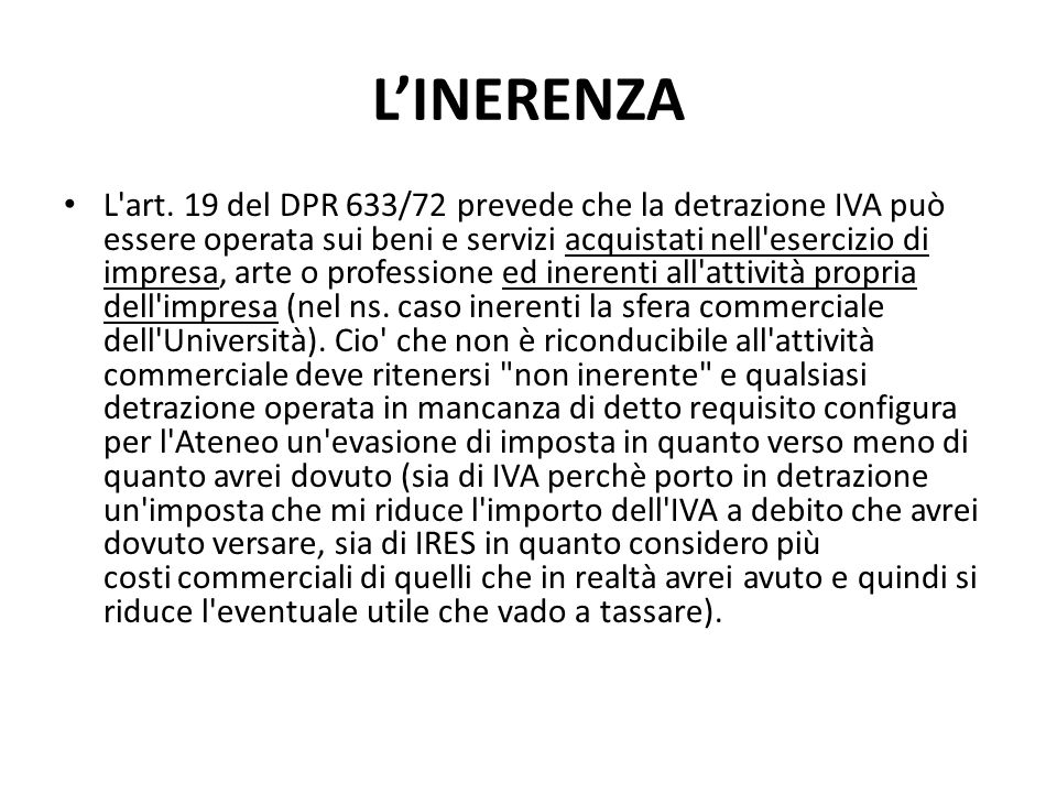L'INERENZA