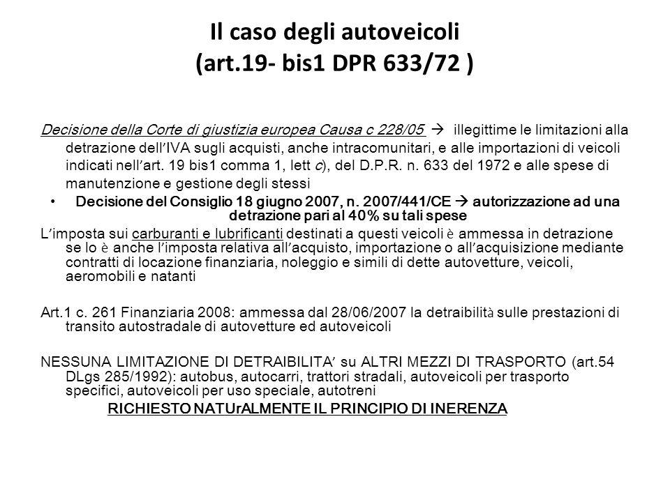 Il caso degli autoveicoli (art.19- bis1 DPR 633/72 )